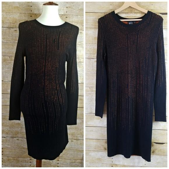 58d3edfedb7 Alexander McQueen Dresses   Skirts - Alexander McQueen McQ Orange Black Knit  Dress